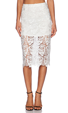 BLAQUE LABEL Lace Pencil Skirt in White