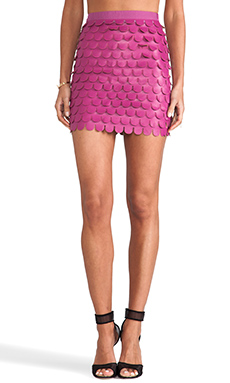 BLAQUE LABEL Scalloped Skirt in Dark Magenta