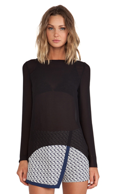 BLAQUE LABEL Sheer Long Sleeve Top in Black