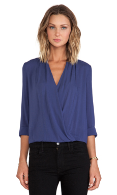 BLAQUE LABEL Crossover Blouse in Navy
