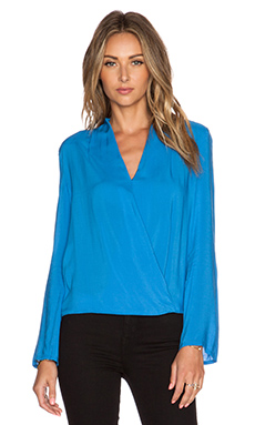 BLAQUE LABEL Wrap Top in Denim Blue