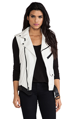 BLK DNM Leather Vest 12 in Dust White & Black