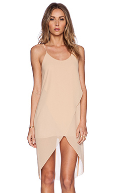 BLQ BASIQ Drape Dress in Tan