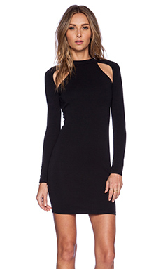 BLQ BASIQ Long Sleeve Cut Out Dress in Black