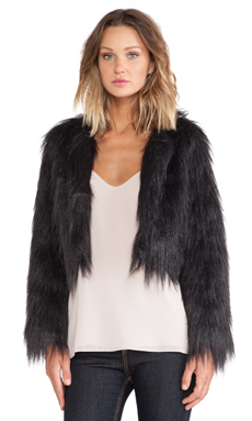 BLQ BASIQ Faux Fur Jacket in Black