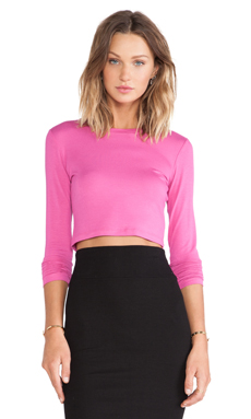 BLQ BASIQ Long Sleeve Crop Top in Pink