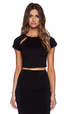BLQ BASIQ Cut Out Crop Top in Black