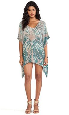 Blue Life V-Neck Cape Cool Dress in Beach Tie Dye