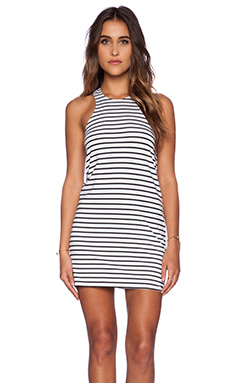 Blue Life Racer Back Tank Dress in White & Black