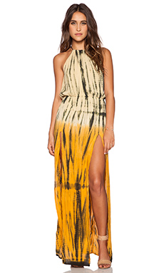 Blue Life Double Slit Halter Maxi Dress in Aloe