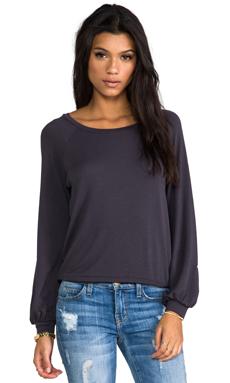 Blue Life Bell Sleeve Sweatshirt in Faded Black