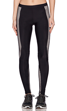 Blue Life Fit Fishnet Moto Legging in Black