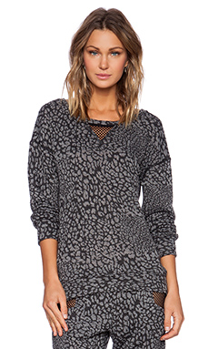 Blue Life Fit Cheetah Mesh Pullover in Taupe & Black