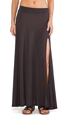 Blue Life Festival Maxi Skirt in Faded Black