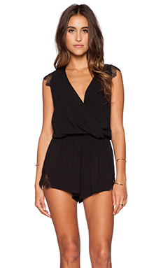 Blue Life Peacock Lace Romper in Black