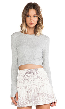 Blue Life EXCLUSIVE Thumbhole Crop Top in Heather Grey