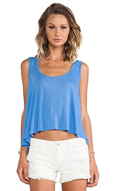 Blue Life Button Back Bare Belly Tank in Capri Blue