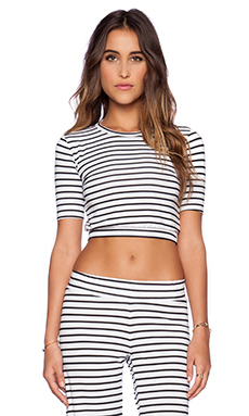 Blue Life 3/4 Sleeve Crop Top in White & Black