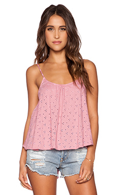 Blue Life Eyelet Cami in Mauve