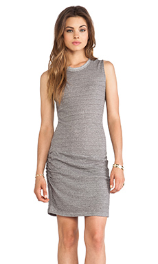 Bella Luxx Marled Muscle Tee Dress in Charcoal Grey