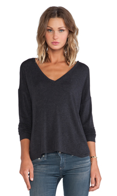 Bella Luxx Drop Shoulder V Neck Sweater in Black Heather