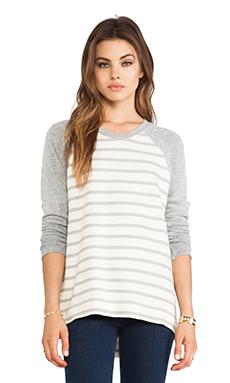 Bella Luxx Striped High-Low Pullover in Encinitas Stripe & Heather Grey