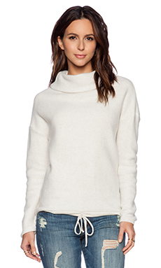 Bella Luxx Oversized Funnel Neck Sweatshirt in Cream Heather