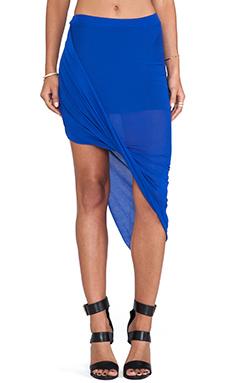 Bella Luxx Twisted Side Drape Skirt in Sapphire