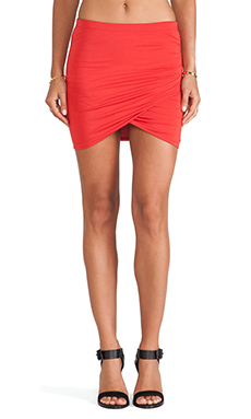 Bella Luxx Shirred Cross Front Skirt in Cardinal