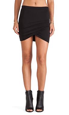 Bella Luxx Shirred Cross Front Skirt in Black
