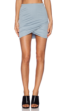 Bella Luxx Shirred Cross Front Skirt in Lake Blue