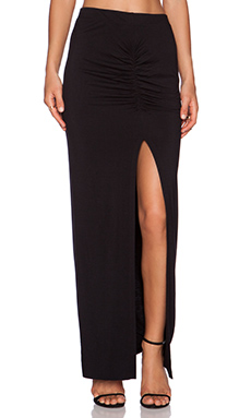 Bella Luxx Shirred Front Maxi Skirt in Black