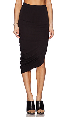 Bella Luxx Asymmetrical Drape Maxi Skirt in Black