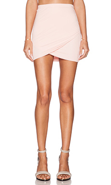 Bella Luxx Shirred Cross Front Skirt in Papaya