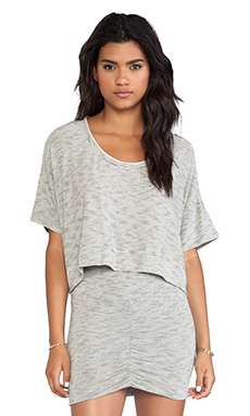Bella Luxx Micro-Striped Cropped Scoop in Cream & Charcoal Heather