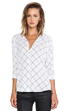 Bella Luxx Crepe Oversized Blouse in Grid Print