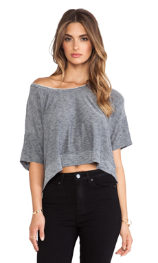Bella Luxx Micro-Striped Cropped Scoop in Navy & Heather Grey