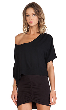 Bella Luxx Crepe Cropped Scoop in Black