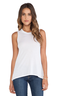 Bella Luxx High-Low Muscle Tank in White