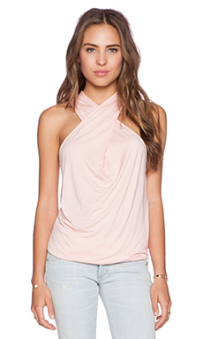 Bella Luxx Cross Drape Tank in Papaya