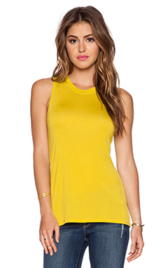 Bella Luxx Hi Lo Muscle Tank in Chartreuse