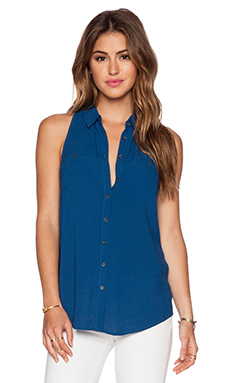 Bella Luxx Pocket Button Up Tank in Azul