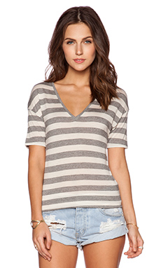 Bella Luxx V Neck Tee in Gibson Stripe