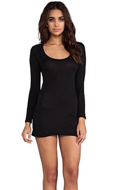 Bobi Light Weight Jersey Long Sleeve Dress in Black