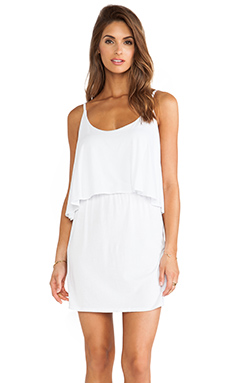 Bobi Jersey Layered Dress in White