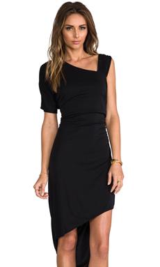 Bobi Asymmetric One Shoulder Dress in Black