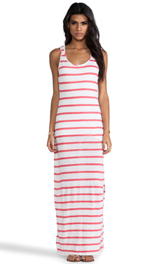 Bobi Linen Stripe Maxi Dress in Neon Candy & White