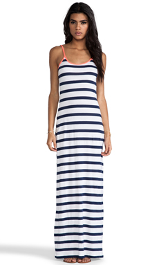 Bobi Light Weight Jersey Stripe Maxi Tank Dress in Marina & White & Tetra