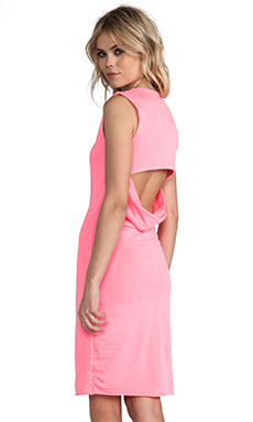 Bobi Jersey Open Back Dress in Neon Candy