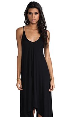 Bobi Jersey Mini Asymmetrical Dress in Black